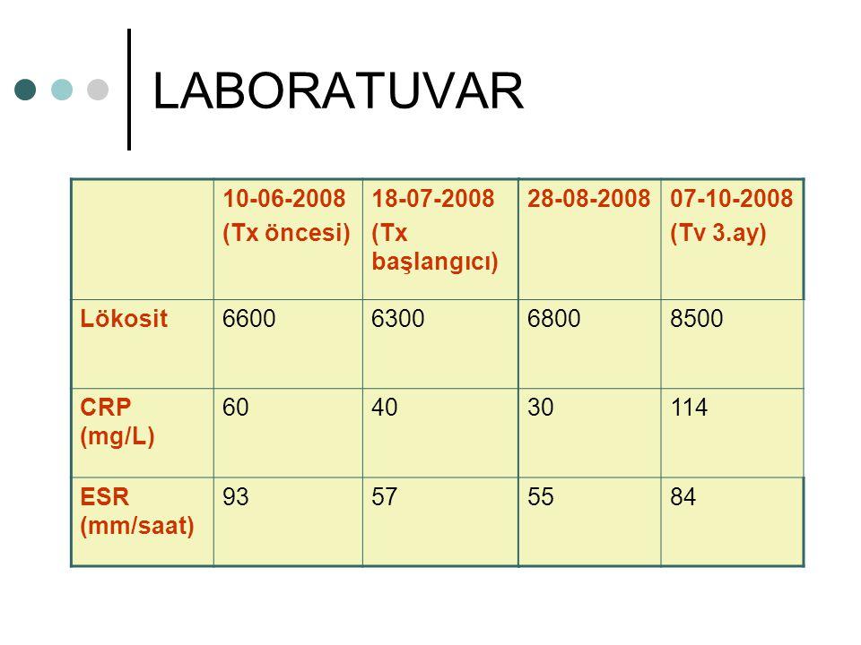 LABORATUVAR 10-06-2008 (Tx öncesi) 18-07-2008 (Tx başlangıcı) Lökosit