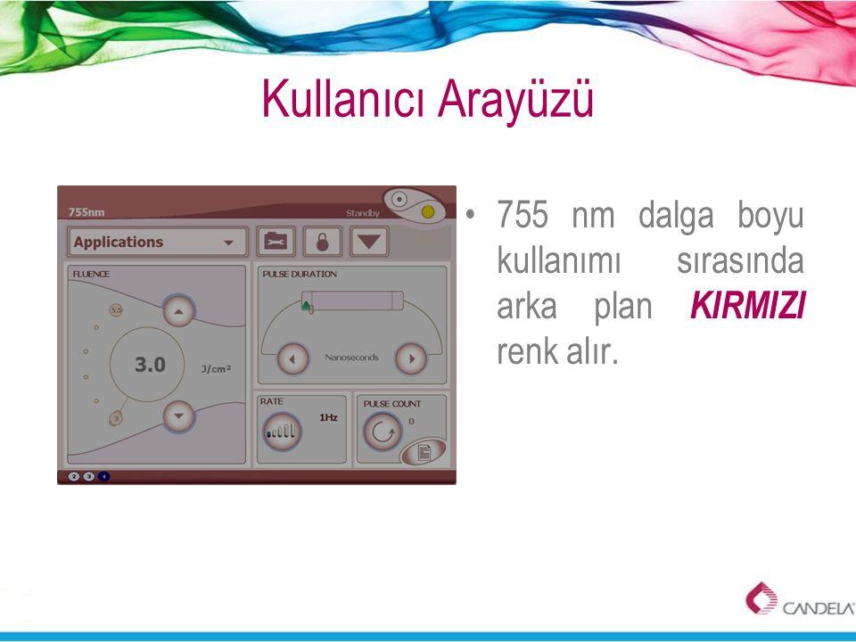 Kullanıcı Arayüzü 755 nm dalga boyu kullanımı sırasında arka plan KIRMIZI renk alır.
