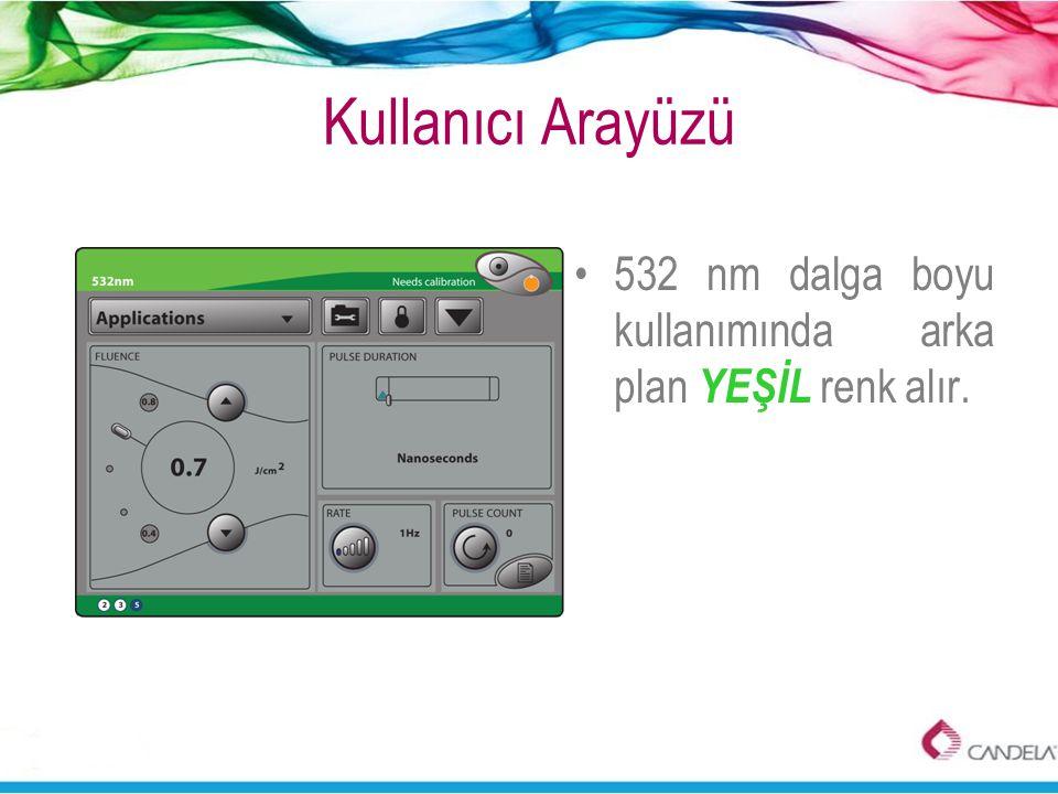 Kullanıcı Arayüzü 532 nm dalga boyu kullanımında arka plan YEŞİL renk alır.