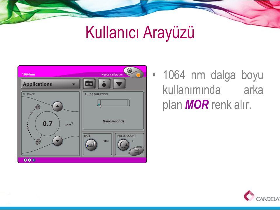 Kullanıcı Arayüzü 1064 nm dalga boyu kullanımında arka plan MOR renk alır.