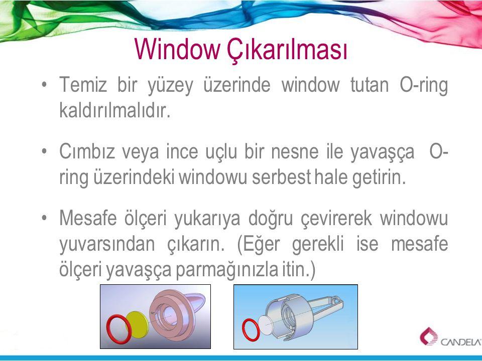 Window Çıkarılması Temiz bir yüzey üzerinde window tutan O-ring kaldırılmalıdır.