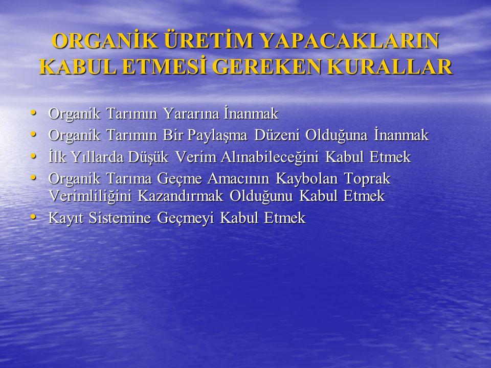 ORGANİK ÜRETİM YAPACAKLARIN KABUL ETMESİ GEREKEN KURALLAR