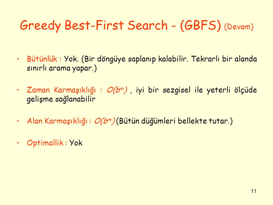 Greedy Best-First Search - (GBFS) (Devam)