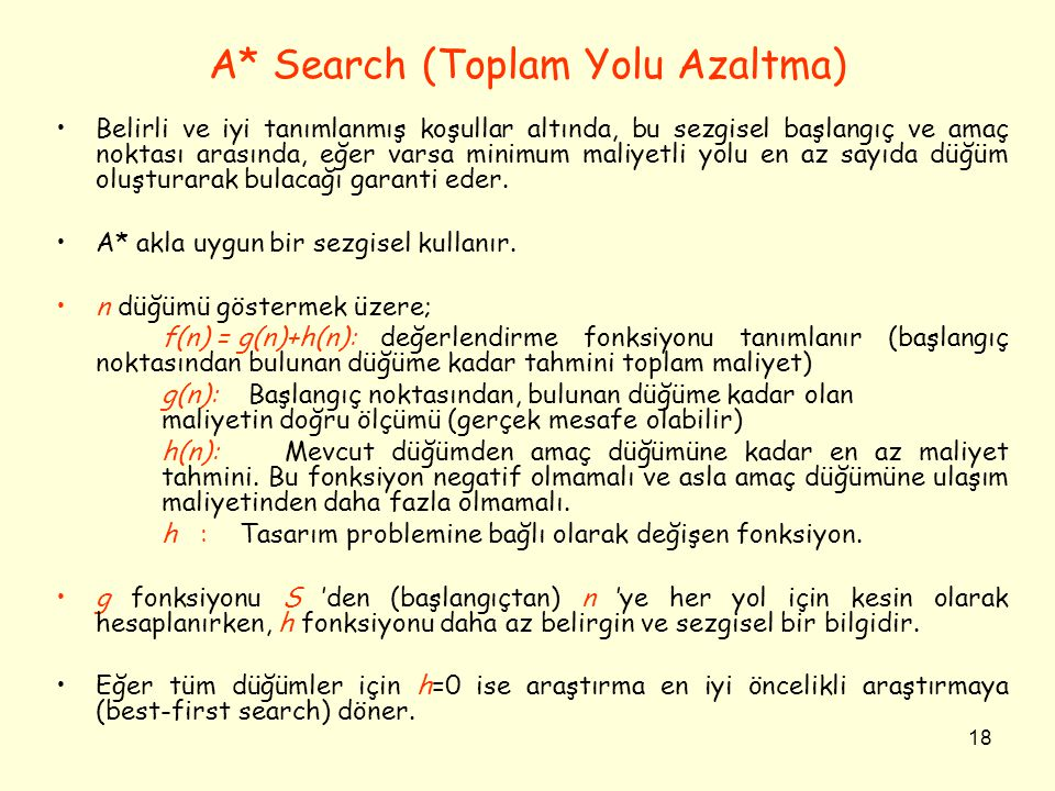A* Search (Toplam Yolu Azaltma)