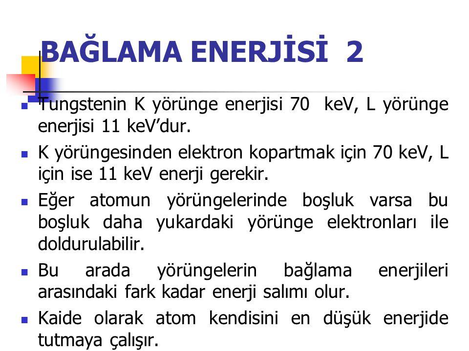 BAĞLAMA ENERJİSİ 2 Tungstenin K yörünge enerjisi 70 keV, L yörünge enerjisi 11 keV'dur.