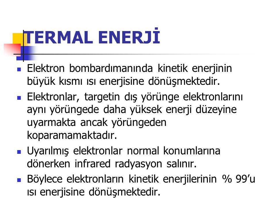 TERMAL ENERJİ Elektron bombardımanında kinetik enerjinin büyük kısmı ısı enerjisine dönüşmektedir.