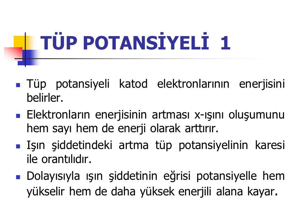 TÜP POTANSİYELİ 1 Tüp potansiyeli katod elektronlarının enerjisini belirler.