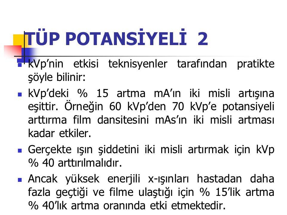 TÜP POTANSİYELİ 2 kVp'nin etkisi teknisyenler tarafından pratikte şöyle bilinir: