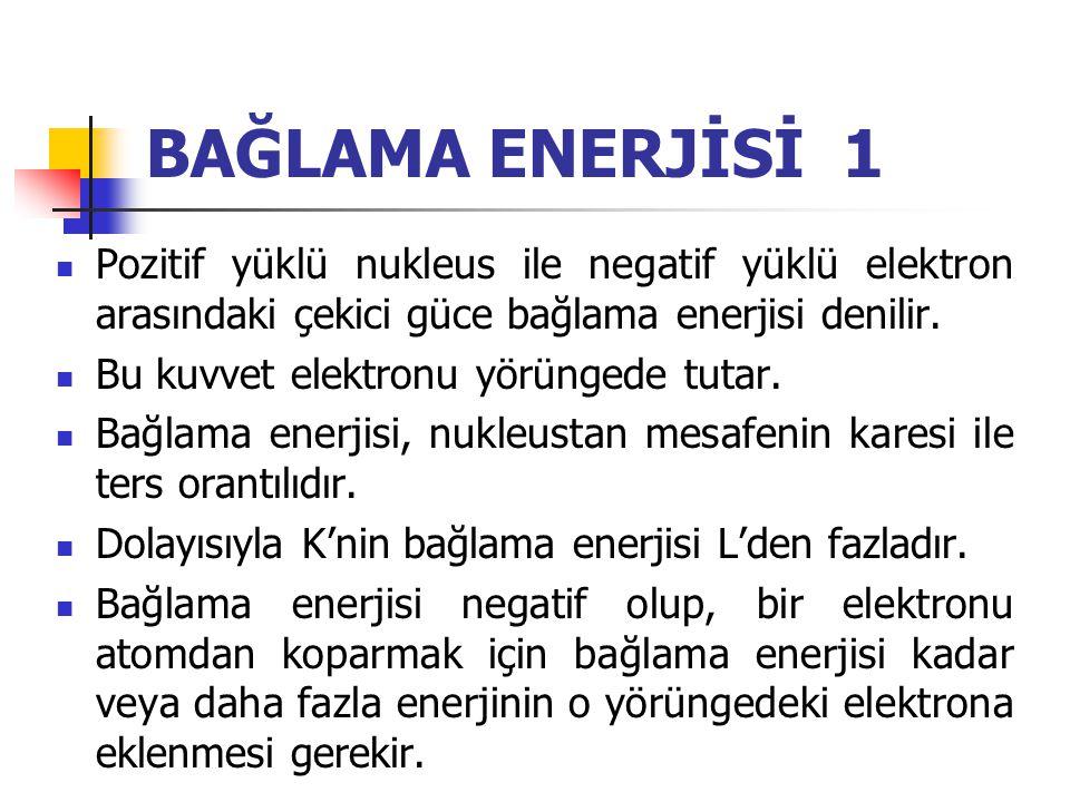 BAĞLAMA ENERJİSİ 1 Pozitif yüklü nukleus ile negatif yüklü elektron arasındaki çekici güce bağlama enerjisi denilir.