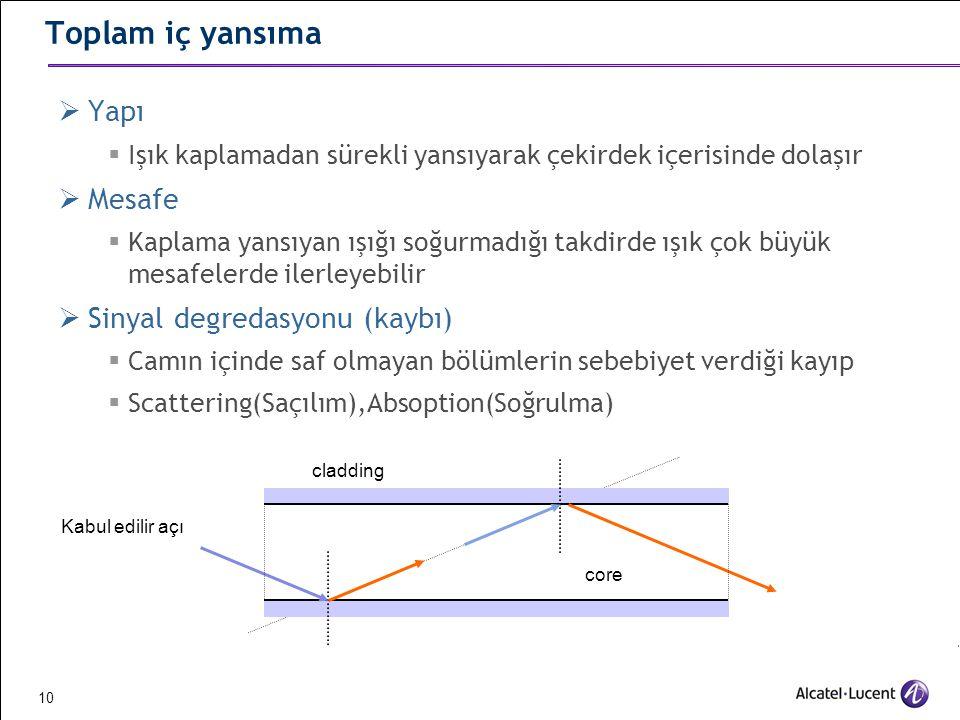 Toplam iç yansıma Yapı Mesafe Sinyal degredasyonu (kaybı)
