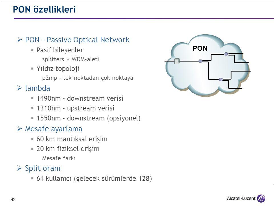 PON özellikleri PON – Passive Optical Network lambda Mesafe ayarlama