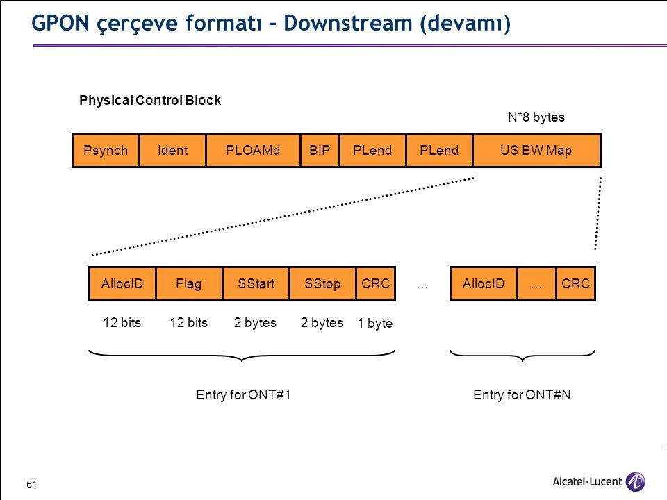 GPON çerçeve formatı – Downstream (devamı)