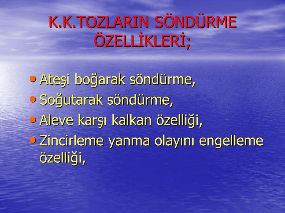 K.K.TOZLARIN SÖNDÜRME ÖZELLİKLERİ;