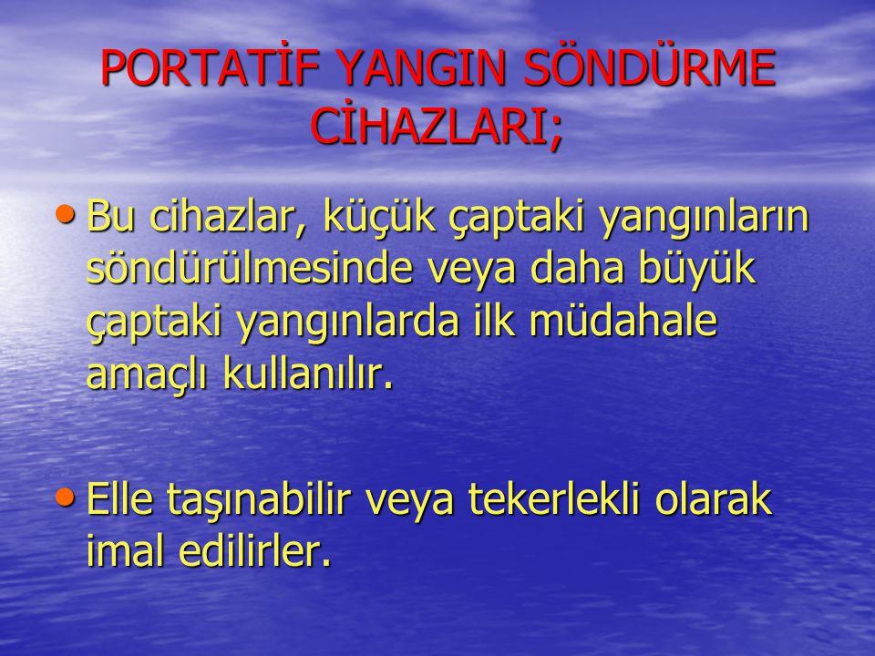 PORTATİF YANGIN SÖNDÜRME CİHAZLARI;