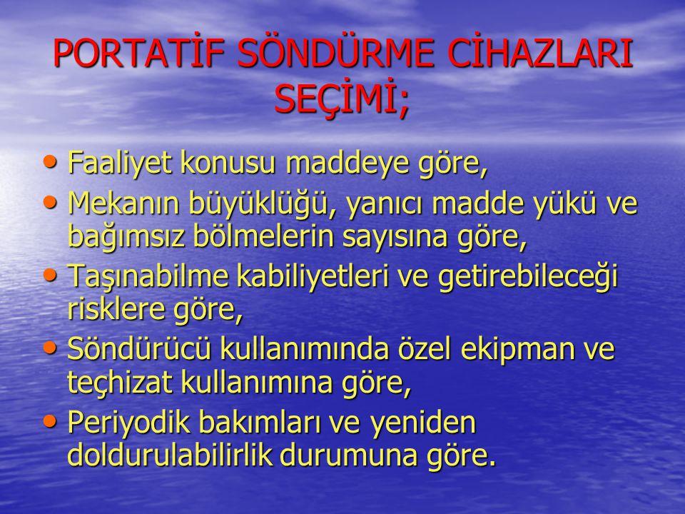 PORTATİF SÖNDÜRME CİHAZLARI SEÇİMİ;