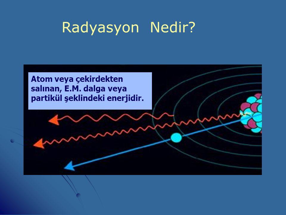 Radyasyon Nedir Atom veya çekirdekten salınan, E.M. dalga veya partikül şeklindeki enerjidir.