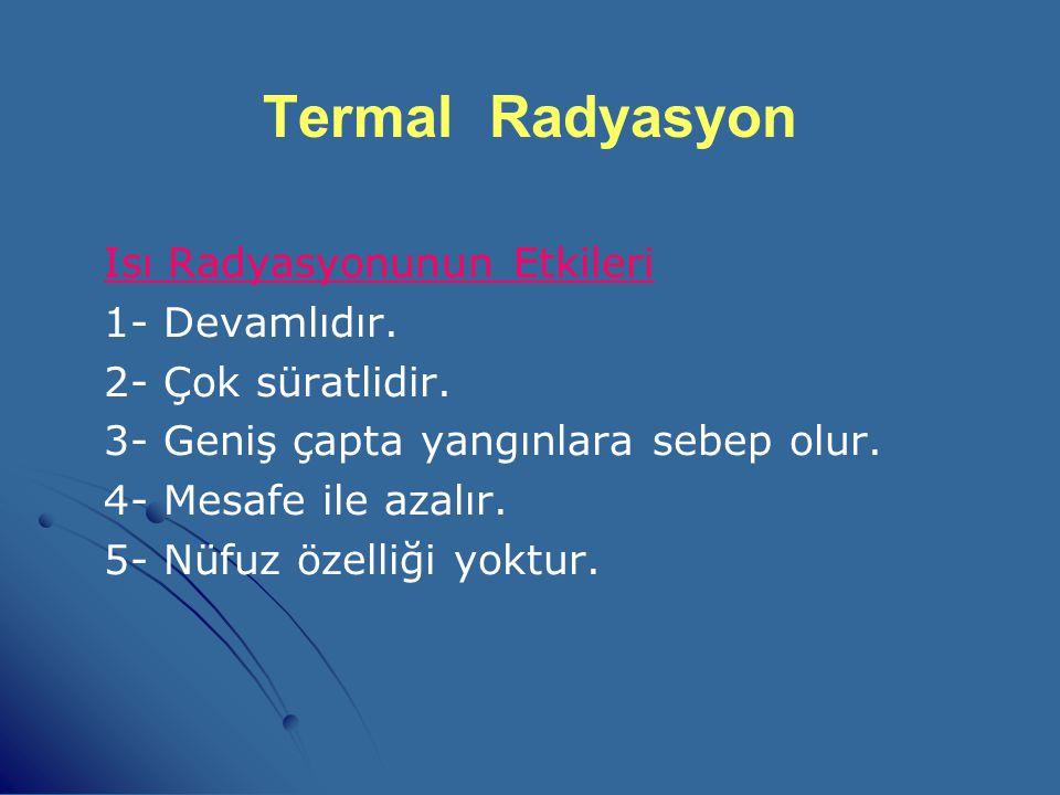 Termal Radyasyon Isı Radyasyonunun Etkileri 1- Devamlıdır.