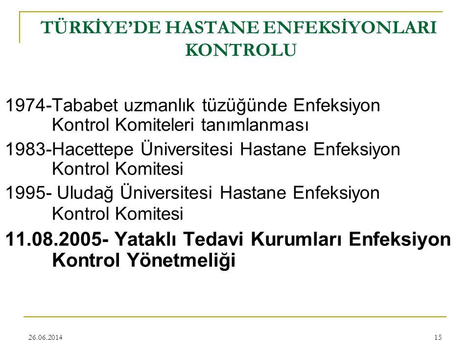 TÜRKİYE'DE HASTANE ENFEKSİYONLARI KONTROLU