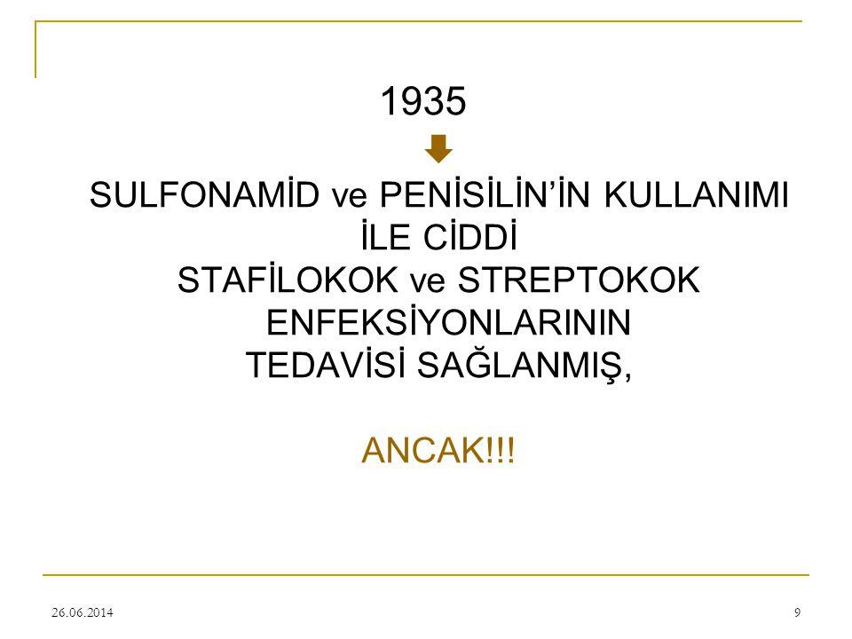 1935  SULFONAMİD ve PENİSİLİN'İN KULLANIMI İLE CİDDİ STAFİLOKOK ve STREPTOKOK ENFEKSİYONLARININ TEDAVİSİ SAĞLANMIŞ, ANCAK!!!