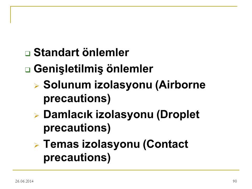 Genişletilmiş önlemler Solunum izolasyonu (Airborne precautions)