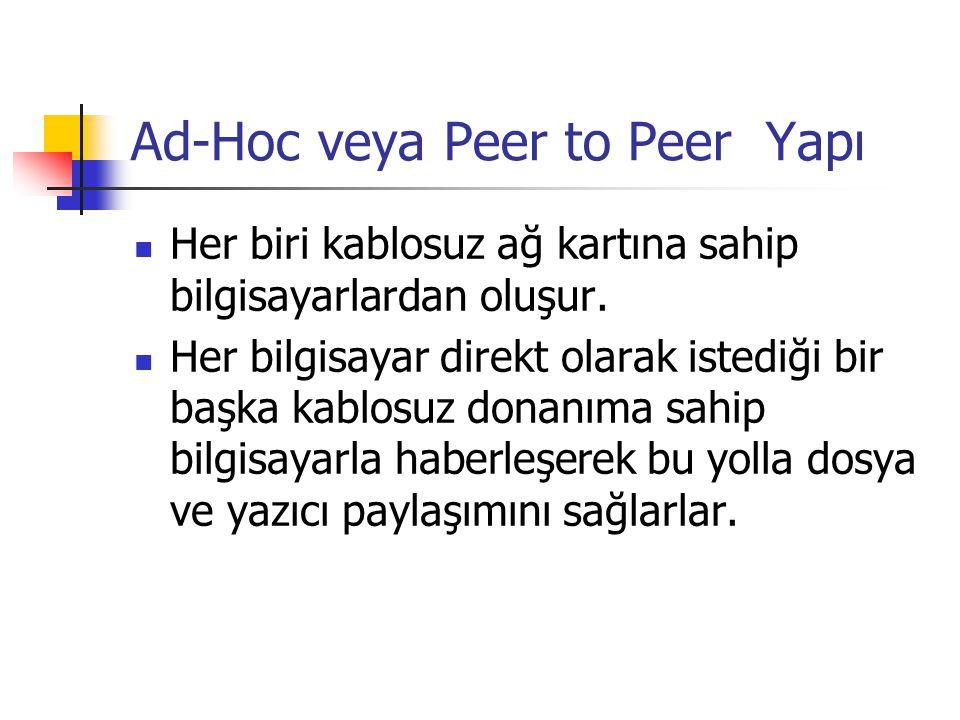 Ad-Hoc veya Peer to Peer Yapı