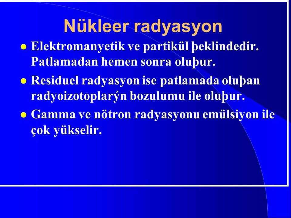 Nükleer radyasyon Elektromanyetik ve partikül þeklindedir. Patlamadan hemen sonra oluþur.