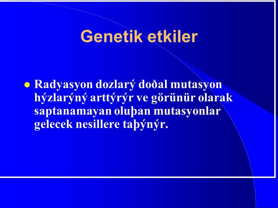 Genetik etkiler Radyasyon dozlarý doðal mutasyon hýzlarýný arttýrýr ve görünür olarak saptanamayan oluþan mutasyonlar gelecek nesillere taþýnýr.
