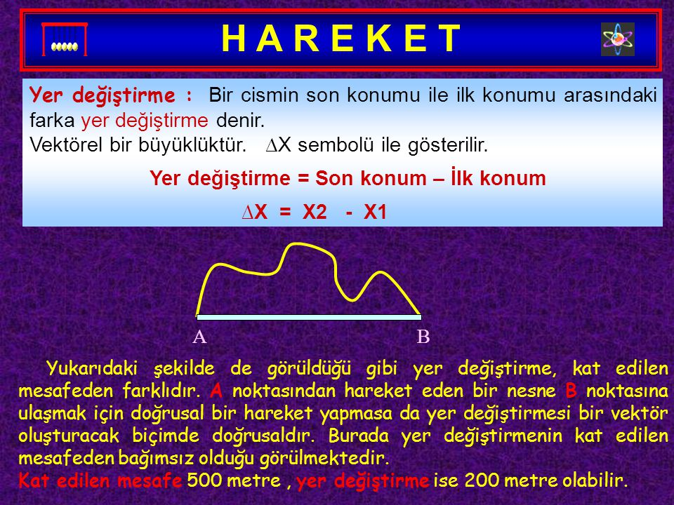 H A R E K E T Yer değiştirme : Bir cismin son konumu ile ilk konumu arasındaki farka yer değiştirme denir.