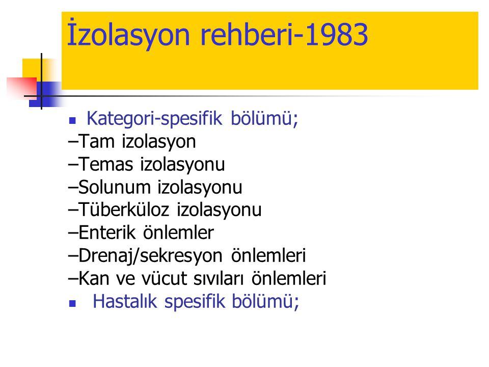 İzolasyon rehberi-1983 Kategori-spesifik bölümü; –Tam izolasyon