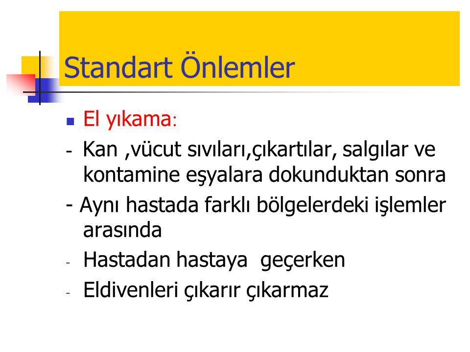 Standart Önlemler El yıkama: