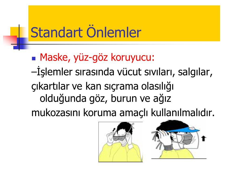 Standart Önlemler Maske, yüz-göz koruyucu: