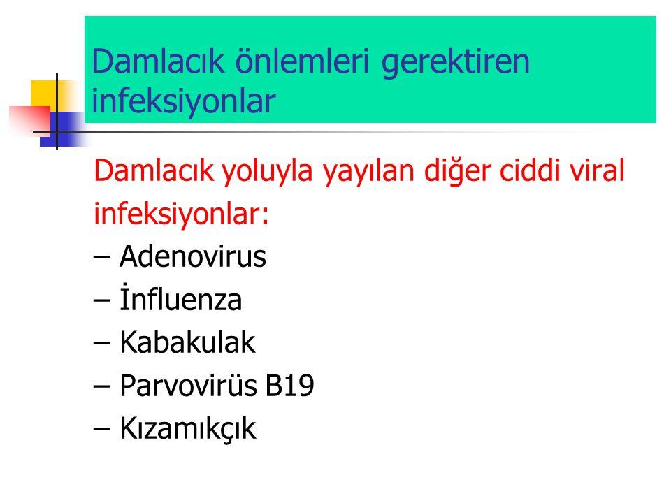 Damlacık önlemleri gerektiren infeksiyonlar