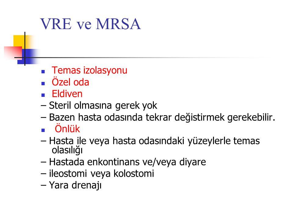VRE ve MRSA Temas izolasyonu Özel oda Eldiven