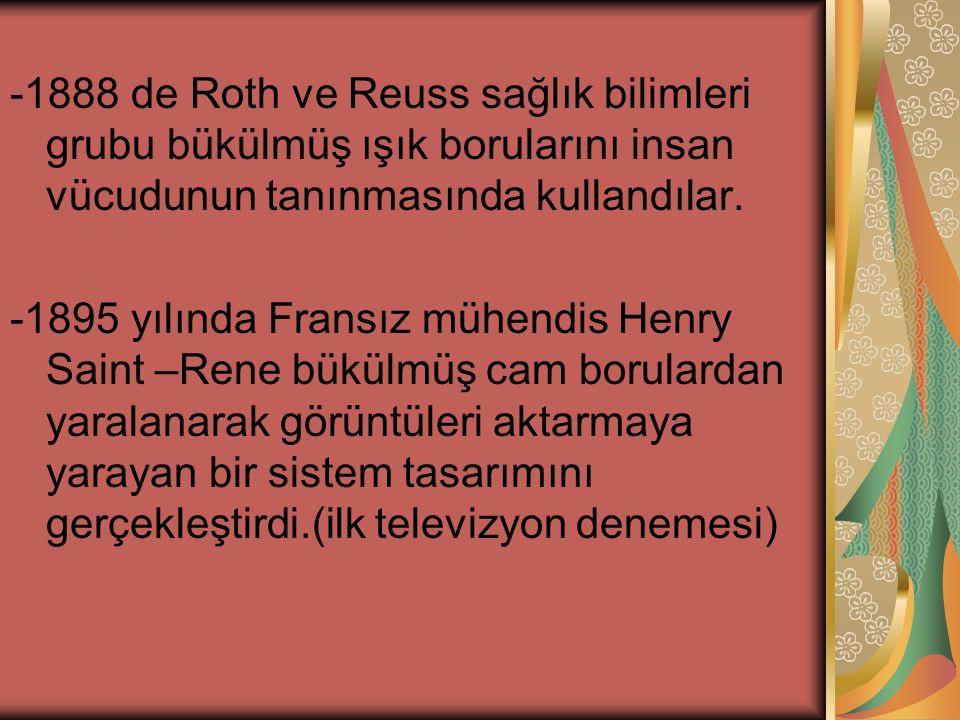 -1888 de Roth ve Reuss sağlık bilimleri grubu bükülmüş ışık borularını insan vücudunun tanınmasında kullandılar.