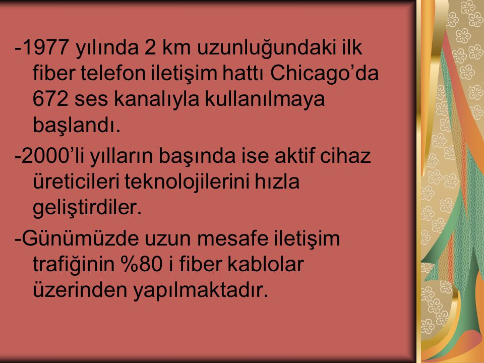 -1977 yılında 2 km uzunluğundaki ilk fiber telefon iletişim hattı Chicago'da 672 ses kanalıyla kullanılmaya başlandı.