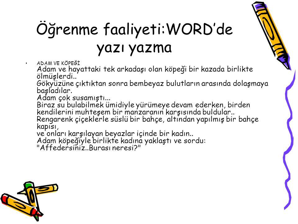 Öğrenme faaliyeti:WORD'de yazı yazma