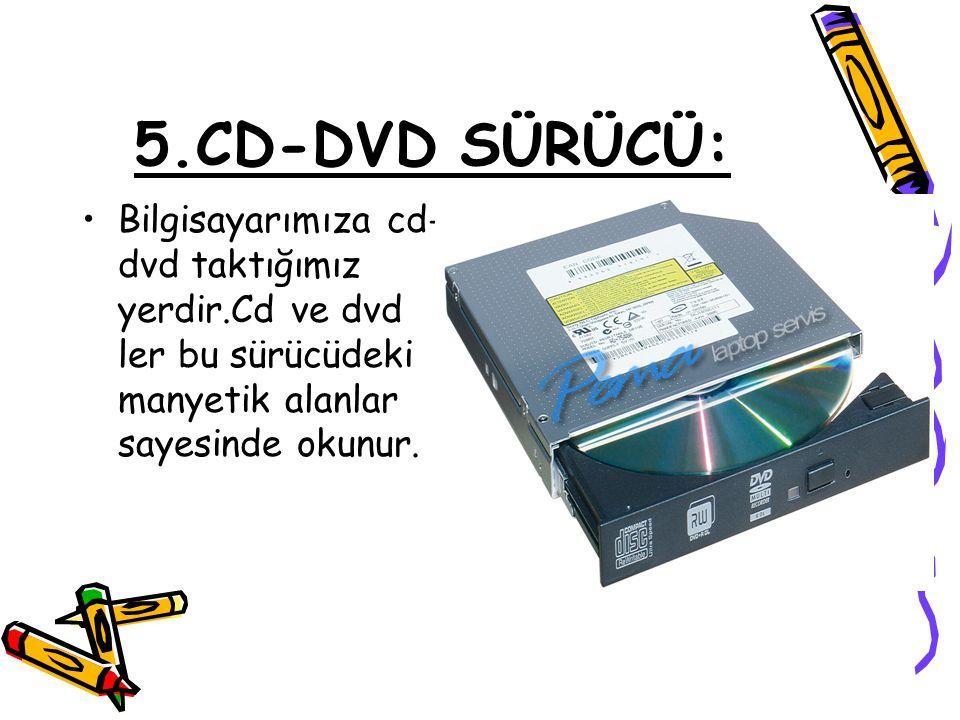 5.CD-DVD SÜRÜCÜ: Bilgisayarımıza cd-dvd taktığımız yerdir.Cd ve dvd ler bu sürücüdeki manyetik alanlar sayesinde okunur.