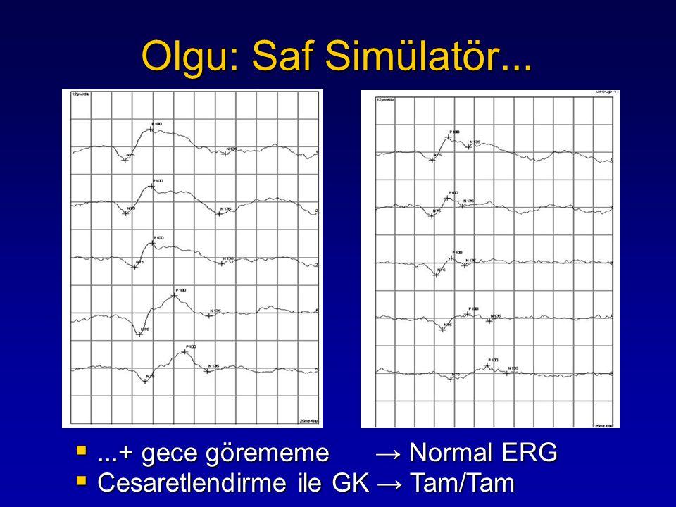 Olgu: Saf Simülatör... ...+ gece görememe → Normal ERG