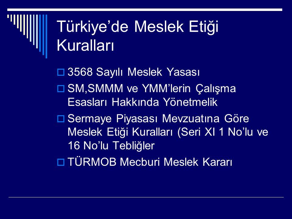 Türkiye'de Meslek Etiği Kuralları