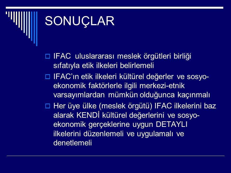 SONUÇLAR IFAC uluslararası meslek örgütleri birliği sıfatıyla etik ilkeleri belirlemeli.