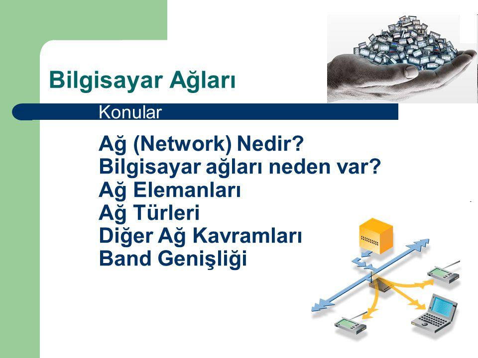 Bilgisayar Ağları Konular. Ağ (Network) Nedir. Bilgisayar ağları neden var.