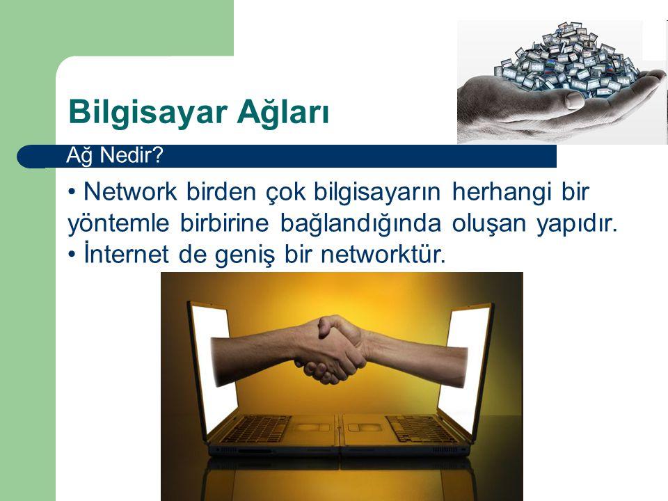Bilgisayar Ağları Ağ Nedir Network birden çok bilgisayarın herhangi bir yöntemle birbirine bağlandığında oluşan yapıdır.