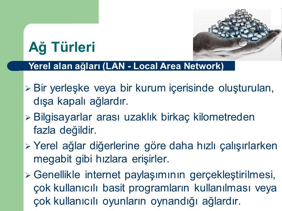 Ağ Türleri Yerel alan ağları (LAN - Local Area Network) Bir yerleşke veya bir kurum içerisinde oluşturulan, dışa kapalı ağlardır.