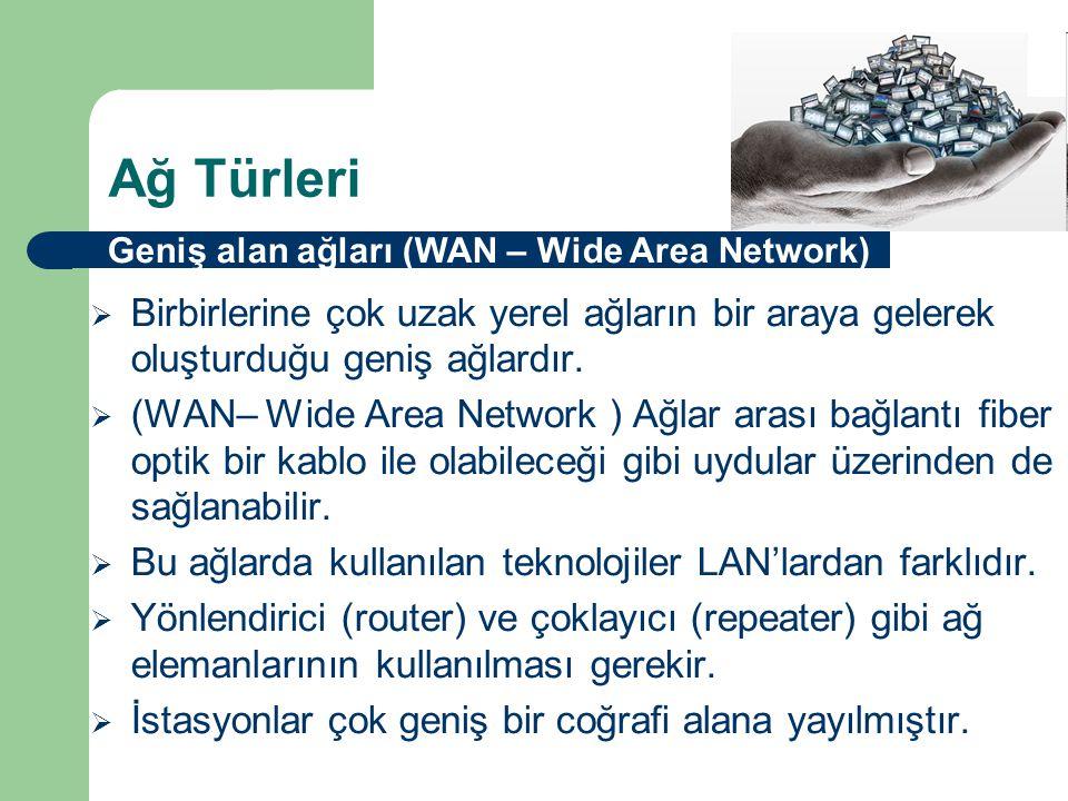 Ağ Türleri Geniş alan ağları (WAN – Wide Area Network) Birbirlerine çok uzak yerel ağların bir araya gelerek oluşturduğu geniş ağlardır.