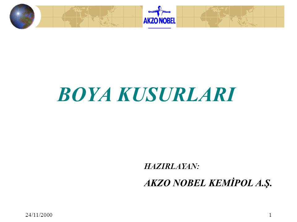 BOYA KUSURLARI HAZIRLAYAN: AKZO NOBEL KEMİPOL A.Ş. 24/11/2000