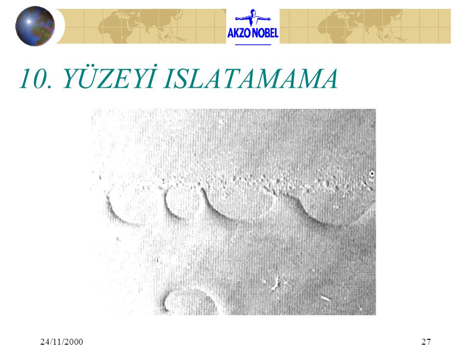 10. YÜZEYİ ISLATAMAMA 24/11/2000