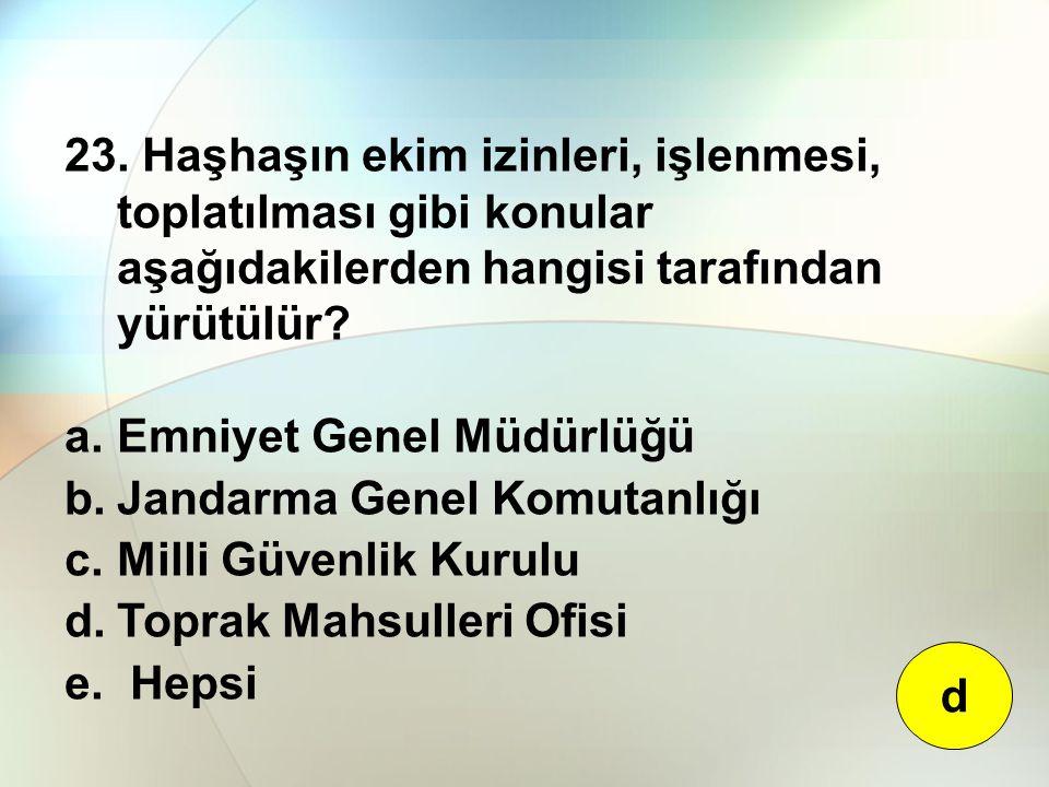 23. Haşhaşın ekim izinleri, işlenmesi, toplatılması gibi konular aşağıdakilerden hangisi tarafından yürütülür