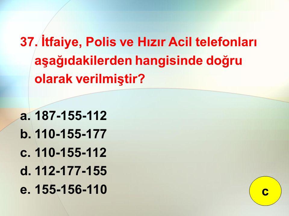 37. İtfaiye, Polis ve Hızır Acil telefonları aşağıdakilerden hangisinde doğru olarak verilmiştir