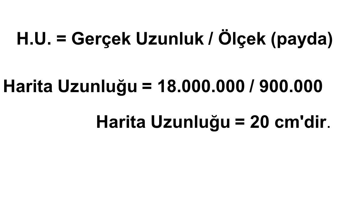 H.U. = Gerçek Uzunluk / Ölçek (payda)