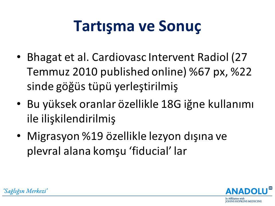 Tartışma ve Sonuç Bhagat et al. Cardiovasc Intervent Radiol (27 Temmuz 2010 published online) %67 px, %22 sinde göğüs tüpü yerleştirilmiş.